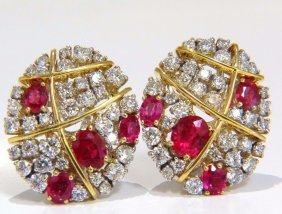 4.52ct Natural Vivid Red Ruby Diamond Oval Cluster Clip