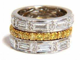 2.86ct Natural Fancy Yellow Diamonds & Baguette Eternit