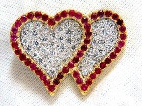 Heart Pin 3d Raised Natural Vivid Red Ruby Diamonds
