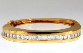 Bangle Bracelet 18kt 5.50ct. Natural Emerald Cut