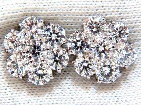Cluster Diamond Earrings 4.80ct G/vs 14kt (14) Round