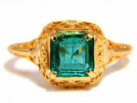 1.54ct Natural Square Bright Green Emerald Ring 14kt.