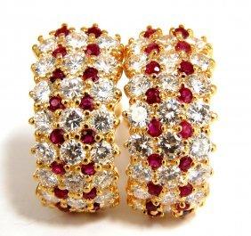 5.00ct Natural Ruby Diamond Classic Semi Hoop Earrings
