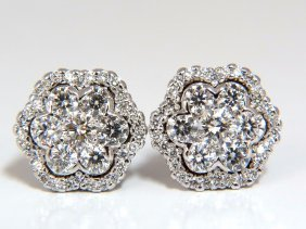 1.50ct Round Natural Diamond Cluster Halo Stud Earrings
