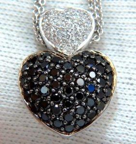 1.24ct Diamonds Black & White Heart Necklace 14kt