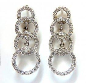 2.00ct Graduated 4 Circles Dangle Diamond Earrings G/vs
