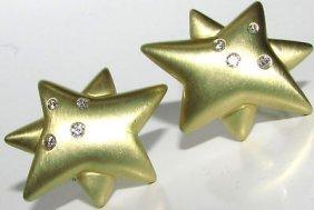 18kt .50ct Diamonds Star Clip Earrings Heavy