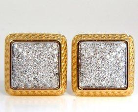 1.30ct Ladies Classic Square Diamond Clip Earrings 18kt
