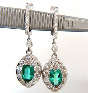 3.68ct Natural Vivid Green Emerald Diamonds Dangle