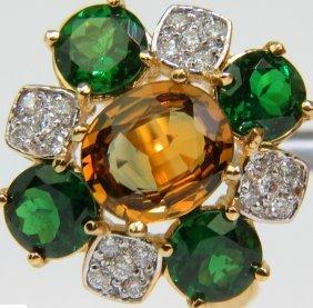 5.52ct 18kt Natural Tsavorite Yellow Sapphire Diamond
