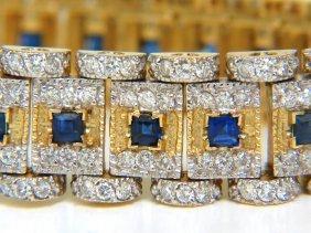 10.00ct Natural Sapphire Diamond Bracelet Edwardian