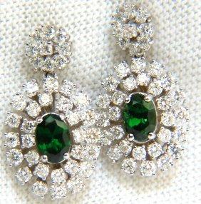 3.08ct Natural Vivid Green Tsavorite Cluster Diamond