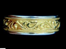 Mens 14kt Millan Gilt Etched Deco Comfort Band Ring