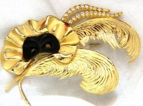 18kt Signed 1.00ct. Diamonds Theater Eye Mask Feather