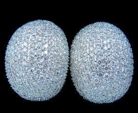 10.02ct 18kt Raised Puff Domed Diamond Cluster Earrings