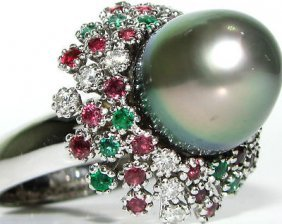 Natural 11.50mm Tahitian Pearl Cluster Ring