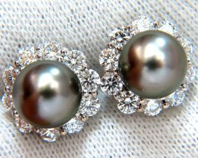 8.5mm Natural Tahitian Pearls 1.80ct Diamonds Cluster