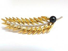 6mm Natural Tahitian Peacock Pearl Diamonds 3d Brooch