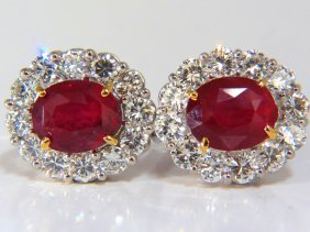 12.12ct Grs No Heat Oval Vivid Red Ruby Diamond Cluster
