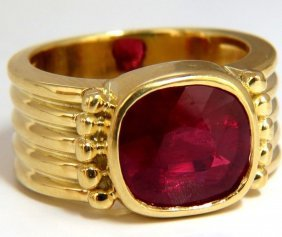 5.00ct Enhanced Ruby Greek Gesso Deco 14kt Gold Ring