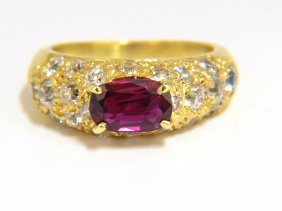 2.64ct Natural Oval Vivid Purple Red Ruby Diamonds Ring