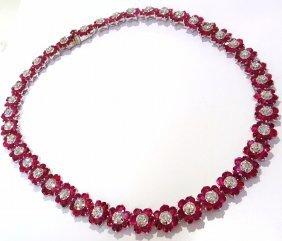 52.66ct Natural Ruby Diamonds Eternity Rivera Cluster