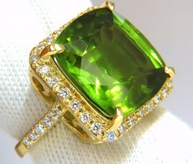 Gia 19.30ct Natural Vivid Green Cushion Peridot Diamond