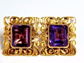 Victorian 8.50ct Natural Amethyst Earrings 18kt
