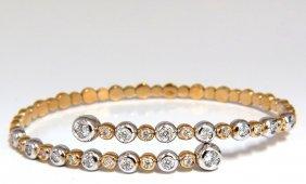 1.02ct Natural Diamonds Flexible Bangle Bracelet 18kt
