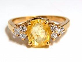 2.89ct Natural Vivid Yellow Sapphire Diamonds Ring 14kt