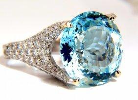 Gia Certified 16.65ct Natural Aquamarine & Diamonds