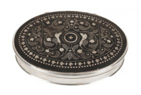 A Silver And Tortoiseshell Pique Oval Box, Unmarke