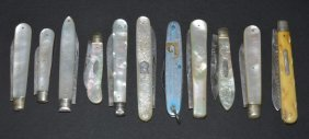 A Collection Of Silver Pocket Knives To Include: A