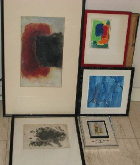 5 Assorted Paintings On Paper: Beaman, Burman, Bar