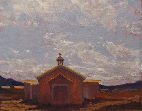 William Berra Oil On Canvas Old Church New Mexico