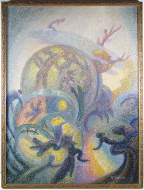 "Nicholas Petkovich Painting ""Three Angels"" Serbian"