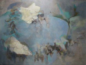 M. Laird Dornin Painting Symphony In Blue