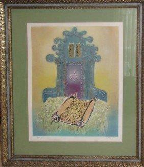 Farni Torah And Ark Serigraph And Mixed Media Prin