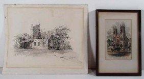 """Lila B. Hetzel Drawing """"Muckross Abbey Ireland"""" W"""