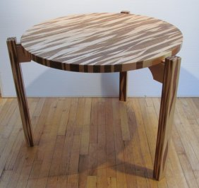 Tadao Arimoto Two Wood Table With Hammered Decorat