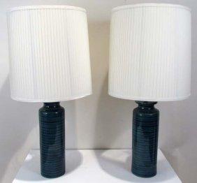 Pair Of Turquoise Baldelli Ceramic Lamps