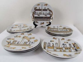 SET OF 12 PIERO FORNASETTI Arsberg DINNER PLATES