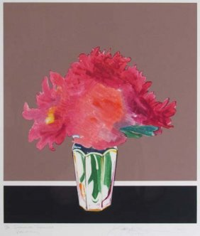 "Gary Bukovnik Color Monoprint ""Summer Peonies"""