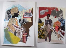 Pair Of Drawings/Collage By Eugene W. R. Campbell