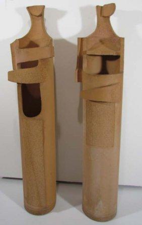 Pair Jerry Caplan Figural Terra Cotta Garden Sculp