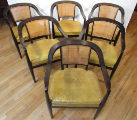 6 Dunbar Style Dining Chairs With Cane Backs And E