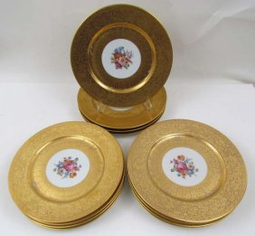 12 Union Czechoslovakian Gilded Under Plates With