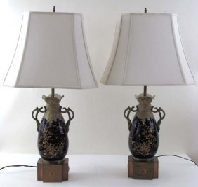 Pair Of Teplitz Vases Converted To Table Lamps
