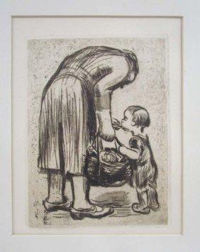 Kathe Kollwitz Standing Mother Feeding Boy Etching
