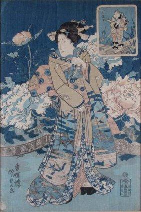 """Kunisada Utagawa III Color Woodcut """"Beautiful Woman"""""""